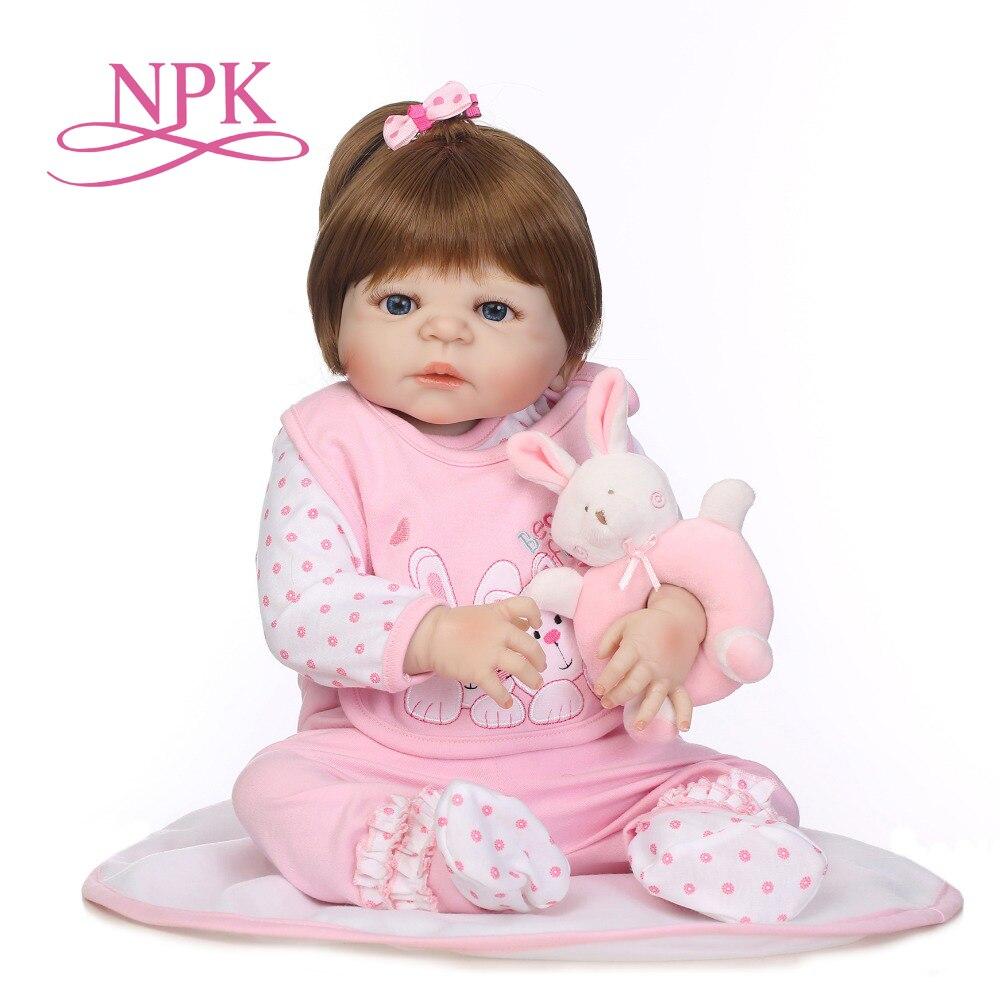 NPK full silicone bebe bonecas lifelike baby girl with lovely stress kids brithday gift silicone reborn baby dolls