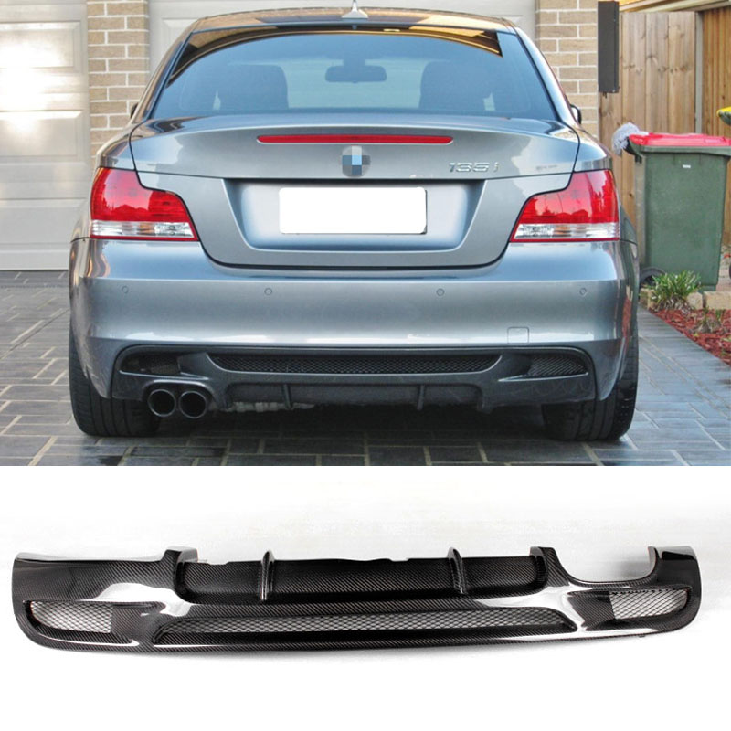 E82 M Sport Carbon Fiber Bumper Lip Diffuser for BMW E82 M tech 2011-2013 Dual eksosrør, Dual outlet