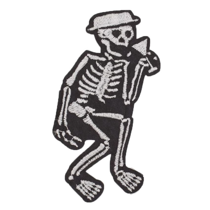 guitar playing skeleton motif iron on or sew on  patch appliqué embroidery
