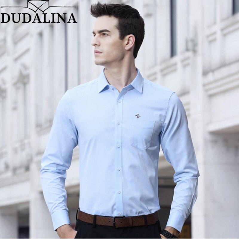 290a03149 Comprar Dudalina Camisa Masculina Camisa Roupas de Marca Sólida Bolso Dos Homens  Camisa de Manga Longa Plus Size Slim Fit Camisa Casual Roupas Masculinas ...