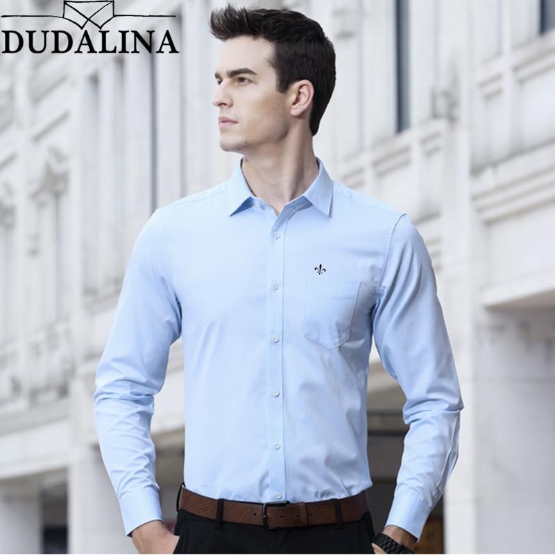 Dudalina Shirt Male Solid Shirt Brand Clothing Pocket Mens Long Sleeve Shirt Plus Size Slim Fit Shirt Casual Men Clothes 9xl
