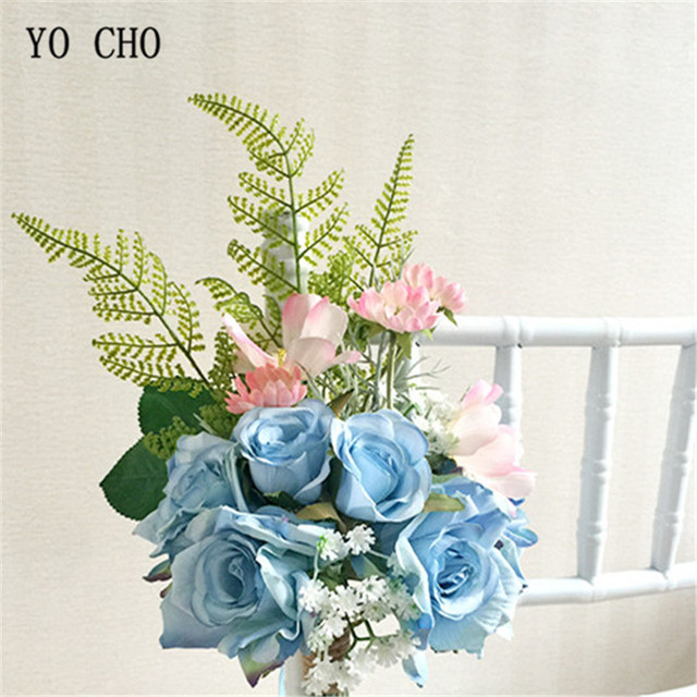 Yo Cho Silk Blue Rose Artificial Flowers Home Decor Diy Flower