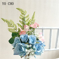YO CHO Silk Blue Rose Artificial Flowers Home Decor DIY Flower Hanging Garden Chair Back Stair