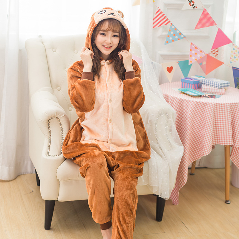 Coffee Brown Monkey Kengurumi Onesie Adult Pyjamas Animal Womens Pajamas Pijama Pijamas Pyjama Sleepwear For Men Women Couples