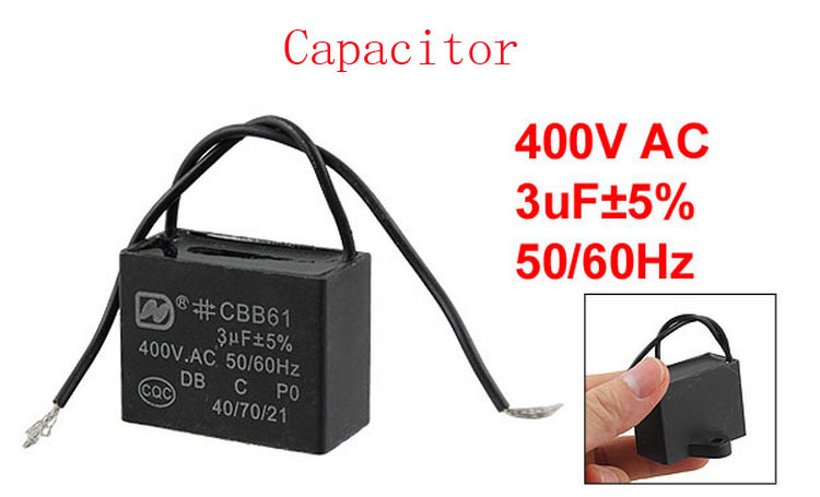 Ceiling Fan Capacitor CBB61 3 uf MFD 450VAC 2 Black Wire 50/60Hz ...