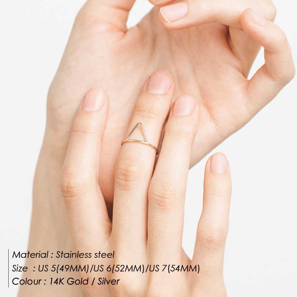E-מנקו Minimaliset פאנק נירוסטה טבעות לנשים גיאומטרית עדינה זרת טבעת stackable משולש midi טבעות תכשיטים