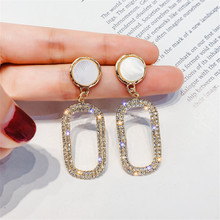 FYUAN Geometric Shell Drop Earrings for Women New Gold Silver Color Oval Rhinestone Dangle Fashion Jewelry Gifts