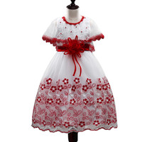Baby Girl Princess Dresses Shawl Lace Flowers Kids Clothes Wedding Dress For Birthday Party Kids Toddler