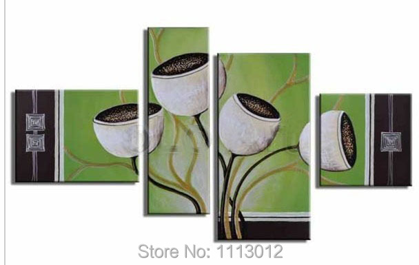 Hand-painted Green Camellia Flower Oil Painting on Canvas 4 Piece Modern Set Home Wall Art For Living Room Abstract Decor Sale