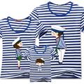 2016 de la familia ropa a juego calidad de la raya azul pareja de dibujos animados hombre mujer 4xl verano de manga corta papá mamá camisetas