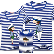 Family Matching Clothes Blue Stripe Quality Couple T Shirt Cartoon Female Male 4xl Summer Short Sleeves