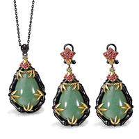 New arrival black women jewelry set long chain pendant green stone 2pcs jewelry sets ( necklace + earrings ) Free drop shipment