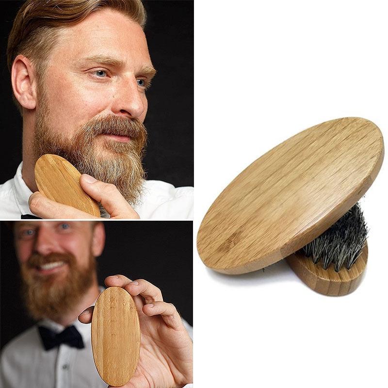 2019 New Men Hair Brush Boar Bristle Beard Comb Straightener Mustache Styling Beard Shaping Tool Military Hard Round Wood Handle