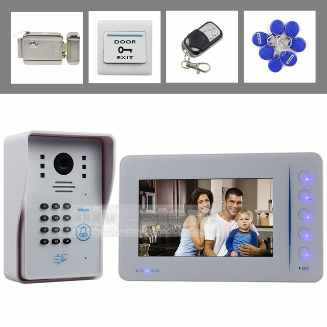 DIYSECUR Electric Lock 7 inch Video Door Phone Door Bell Intercom RFID Password Camera Keypad Remote Control 4CH CCTV Camera