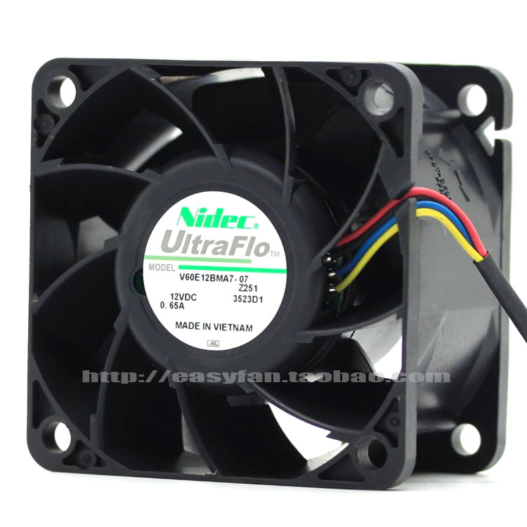 Free Shipping For Nidec V60E12BMA7-07, Z251 DC 12V 0.65A, 60x60x38mm 4-wire Server Square Cooling Fan new nidec v60e12bma7 07 6038 12v 0 65a 6cm 4pin server cooling fan