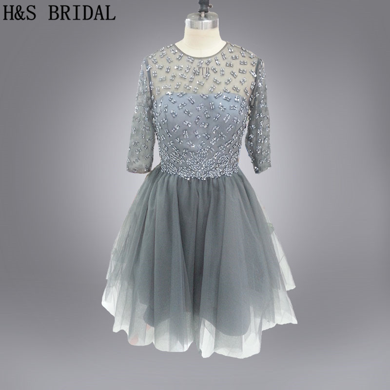 Real Model Grey color short tulle long sleeves sequins beaded   cocktail     dresses