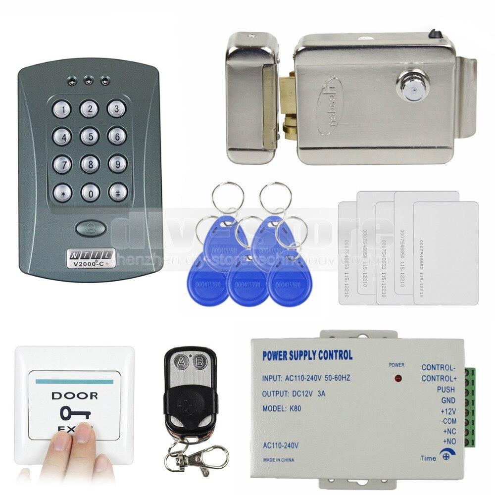 DIYSECUR Full Kit Set ID Card Reader Password Keypad Access Control System Security Kit + Electric Lock V2000-C usb pos numeric keypad card reader white