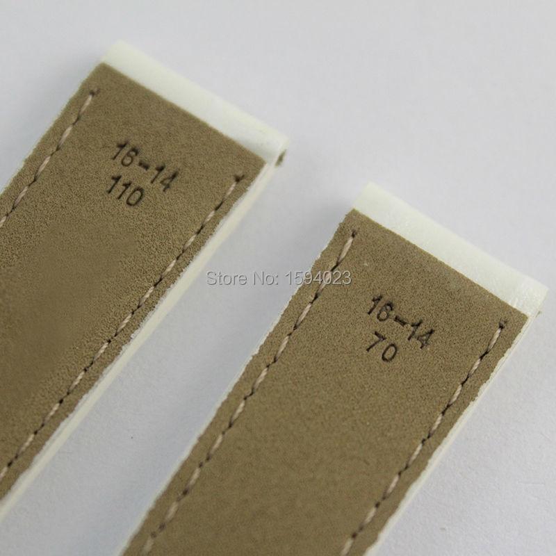 16mm (Buckle14mm) T099207A pour les femmes blanc en cuir véritable manteau de peinture bracelets de montre bracelet - 5