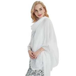 Image 2 - women scarf white shawl chiffon scarves spring autumn large more size ladies tippet beach towel