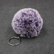 8CM 17 Colors Fluffy Rabbit Fur Ball Key Chain Cute Cream Black Pompom Artificial Rabbit Fur Keychain Women Car Bag Key Ring