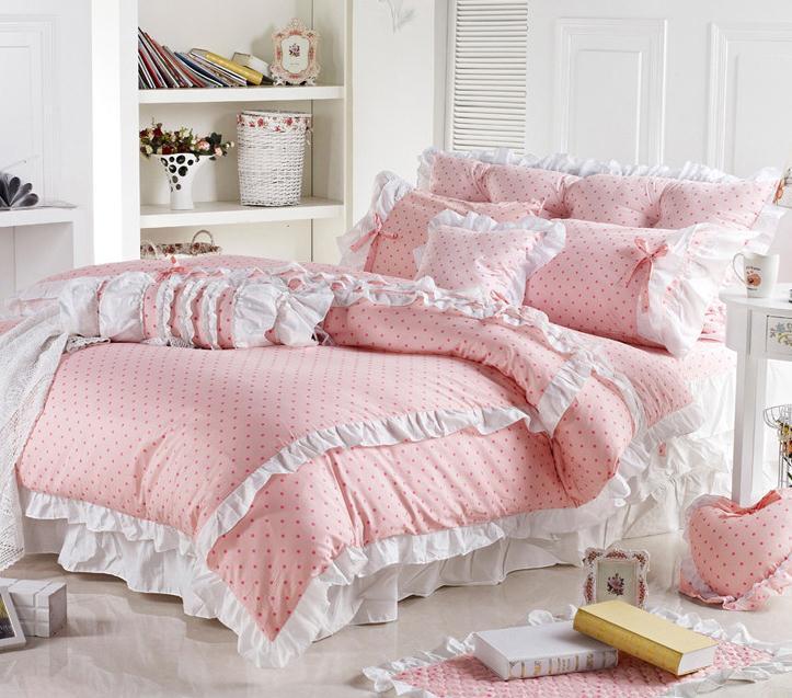 a28e68c7fd Cute Korean Pink Polka Dot Comforter Sets Romantic White Lace Girls  Princess Duvet Cover Set Designer