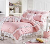 Cute Korean Pink Polka Dot Comforter Sets Romantic White Lace Girls Princess Duvet Cover Set Designer Fairy Bedding Sets