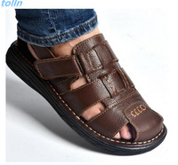 Free Shipping 2017summer Mens Sandals Slippers Genuine Leather Sandals Outdoor Casual Men Leather Sandals For Men