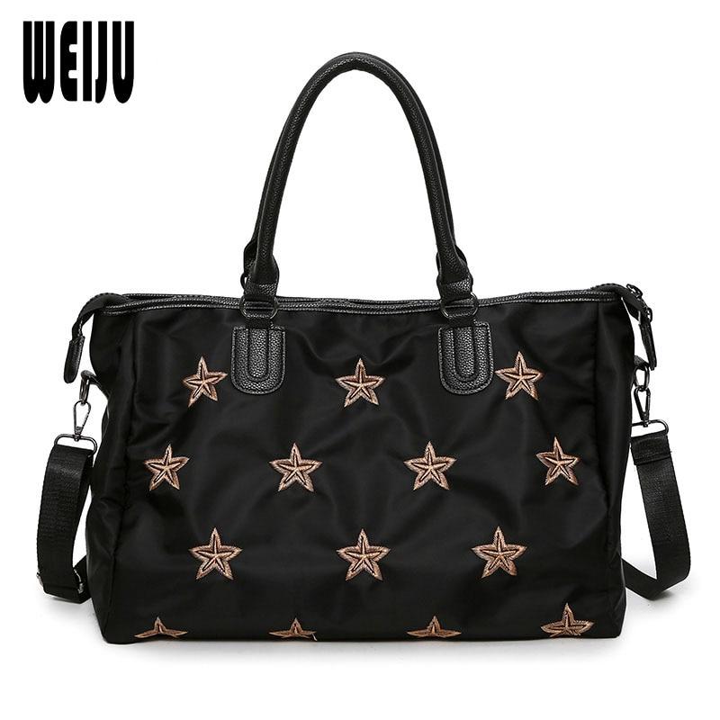WEIJU 2018 Ladies Traveling Bag Black Embroidery Woman Handbag Shoulder Bag Portable Women Handbags Weekend Travel Bags