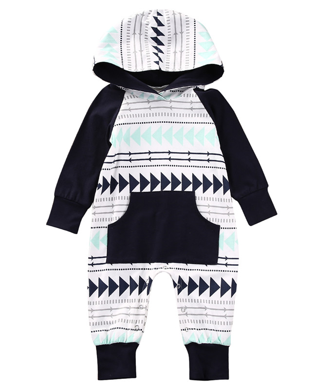 2017 Newborn Infant Baby Boys Girls Long Sleeve Hooded Xmas Gift Romper Jumpsuit Playsuit Warm Clothes Outfits With Pocket toddler infant newborn baby boy clothing romper long sleeve black jumpsuit playsuit clothes outfits 0 24m