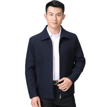 Mature Man Casual Jacket Black Navy Blue Solid Colour Basic Coat Male Turn Down Collar Zipper Front Outerwear Mens Spring Autumn