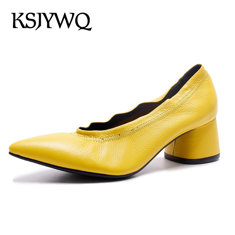 KSJYWQ Genuine leather Women Pumps Sexy Pointed-toe Shoes 5 cm Chunky Heels Yellow Slip-on Dress Shoe Woman Box Packing D311  ksjywq genuine leather flowers women sandals sexy exposed toe white shoes summer style clip toe shoes woman box packing a2571