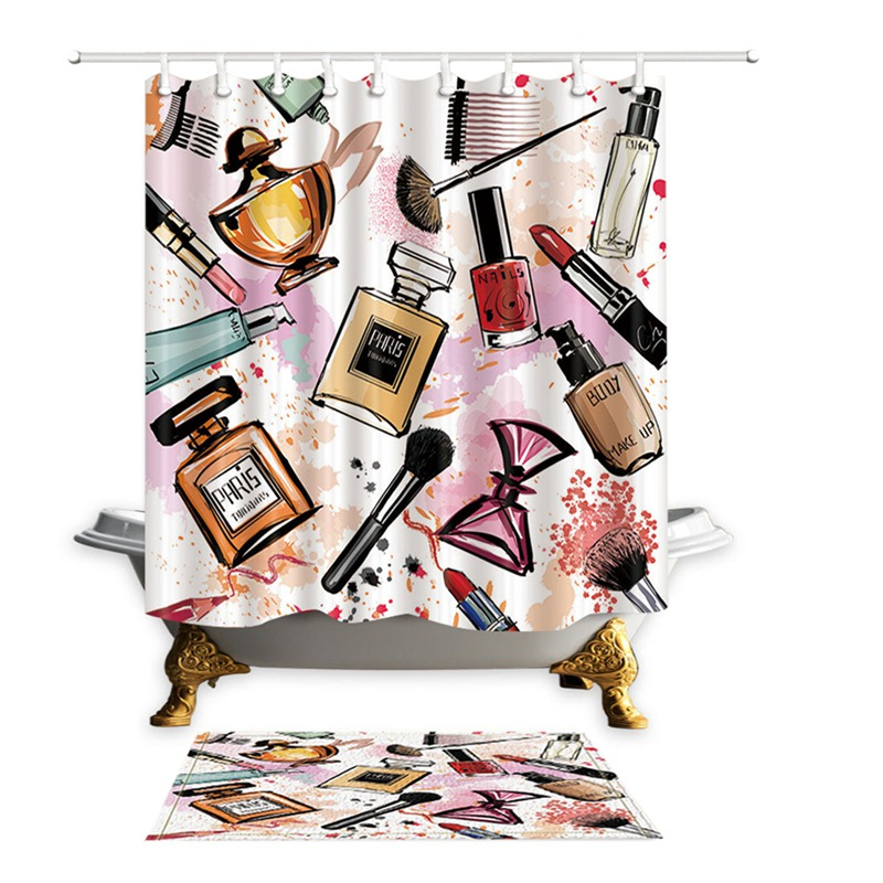 HOT Girly Shower Curtains Cosmetic Perfume And Lipstick Nail Polish Brush Printing Decorative Polyester Fabric Bathroom In From