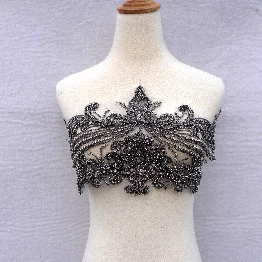 Nouvelle mode strass lourds faits à la main gris/argent dentelle garniture grand patch robe de mariée accessoires 23 cm * 43 cm par pièce