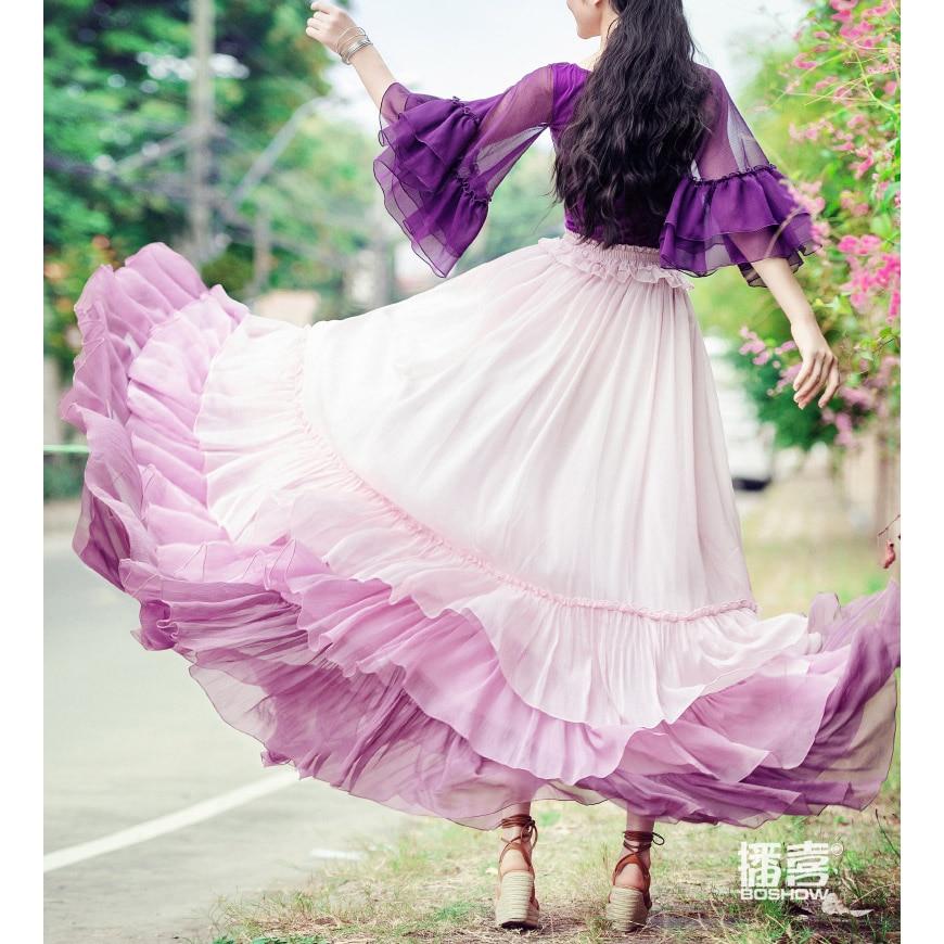 Rosa Neue 2019 Frühling Röcke Designs Rock Rüschen Plissee Süße Nette Rosa lolita Mode Frauen Chiffon weiß Sommer Maxi wqIgdIr