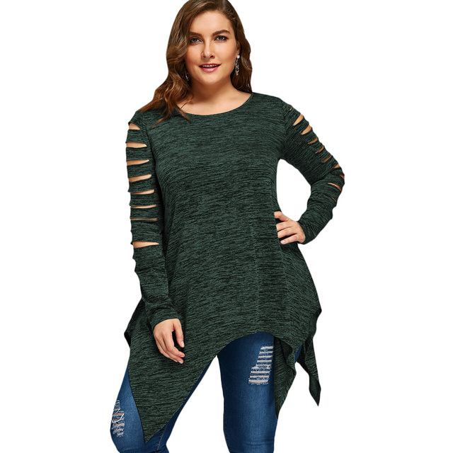 CharMma Plus Size 5XL 4XL T-shirt Women Long Sleeves 2017 Autumn Winter Marled Ripped Sleeve Handkerchief Long Top Tees Casual