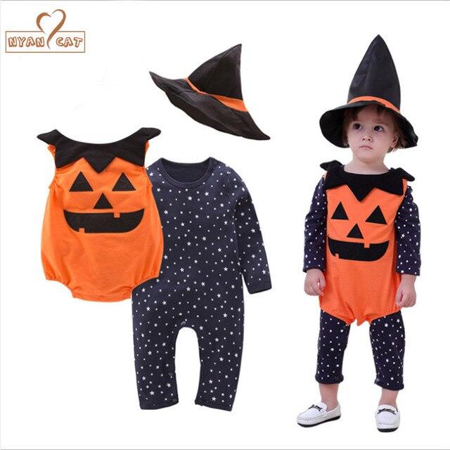 NYAN CAT Halloween abóbora traje conjunto de roupas 3 pcs estrelas romper  do bebê + colete 2c9942a60e6