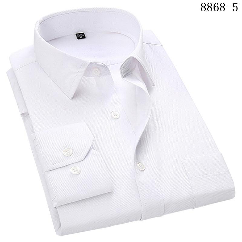 4XL 5XL 6XL 7XL 8XL Large Size Men's Business Casual Long Sleeved Shirt White Blue Black Smart Male Social Dress Shirt Plus 15