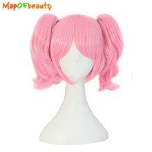 MapofBeauty Rosa Cosplay de Lolita peluca trenzada Roromiya Karuta 2 Cola de Caballo recto corto en forma de garra resistente al calor de pelo sintético