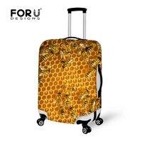 Konstrukcja klapy Bagażnika Bee Honeycomb Druku Elastyczna Walizka Ochronna Pokrywa Garnitur dla 18-30 cal Przypadku Stretch Akcesoria Bagażowe