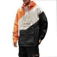 2019 New Sping Jackets Men Patchwork Jacket Fashion Hip Hop Plus Size College Student Windbreaker Coat Men's Hood Jacket M 5xl