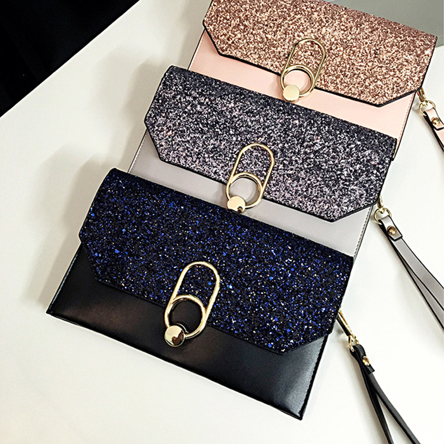 Luxury Sequins Clutch Bags Women Elegant Shiny Evening Bag Ladies Buckle Solid Color Envelope Bag PU Leather Crossbady Bags