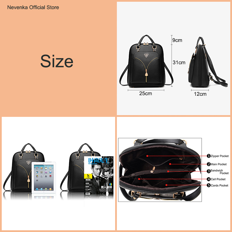 Image 2 - Nevenka Anti Theft Leather Backpack Women Mini Backpacks Female Travel Backpack for Girls School Backpacks Ladies Black Bag 2018-in Backpacks from Luggage & Bags