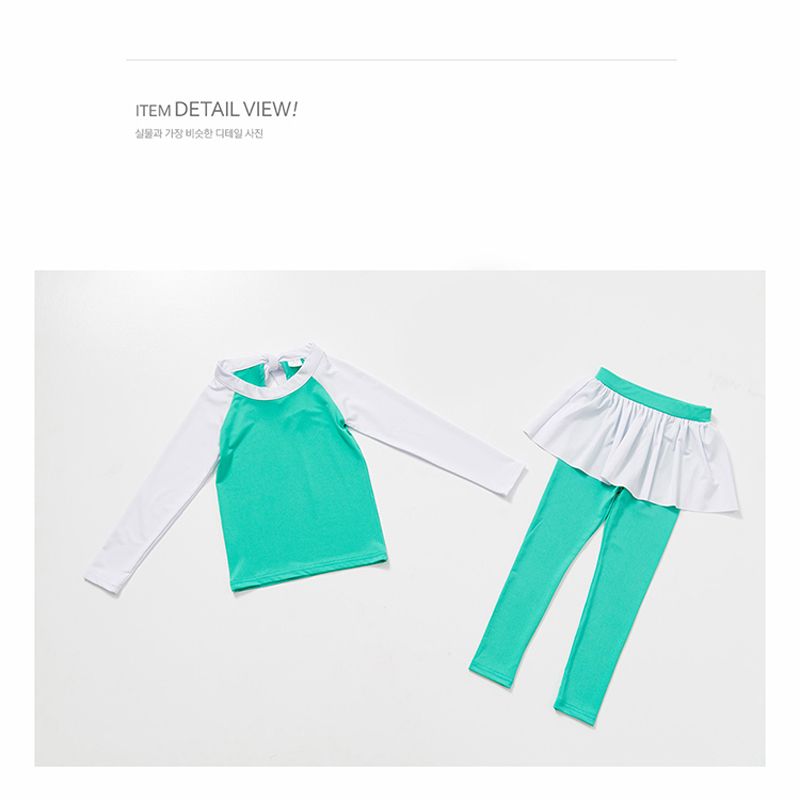 2017 New Beach Cover Ups Girls Swimwear Young Girl Long Sleeves Swimsuit for Children Two Pieces Suit Green Bathing Suit