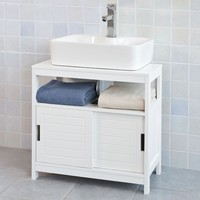 FRG128 W, White Under Sink Bathroom Storage Cabinet with Shelf and Double Sliding Door