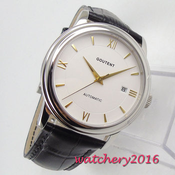 40mm Coutent White Dial Sapphire Glass Yellow Golden Hands Miyota Automatic Mechanical Men's Watch