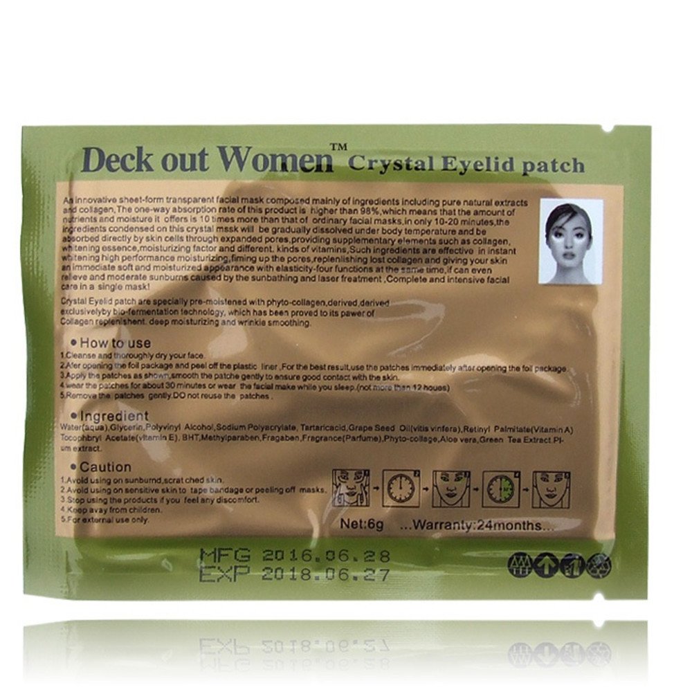 [40pcs/lot] Deck Out Women Crystal Eyelid Patch Anti-Wrinkle Crystal Collagen Eye Mask Remove Black Eye Face care 3
