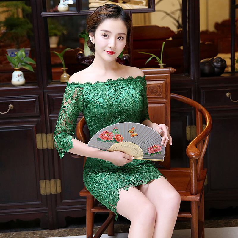 Chinese Female Lace Cheongsam Sexy Mini Qipao Half Sleeve -6153