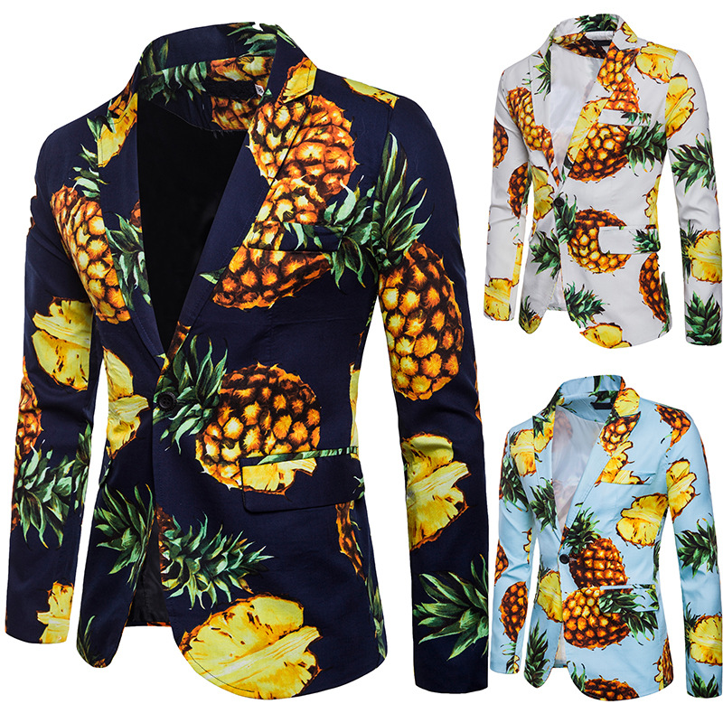 Men Blazer Slim Fit Vetement Homme 2018 Pineapple Print Hawaii Beach Casual One Button Brand Blazer Masculino S-XXL image