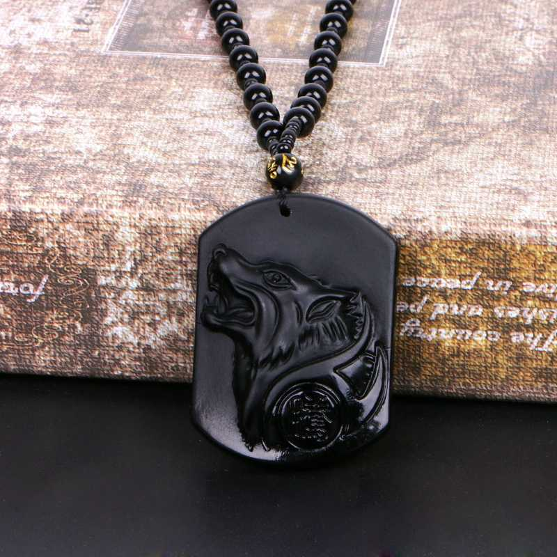 Hand Carved Black Obsidian Natural Genuine Obsidian Howling Wolf Head Amulet Lucky Pendant Necklace Jewelry Gift For Women Men