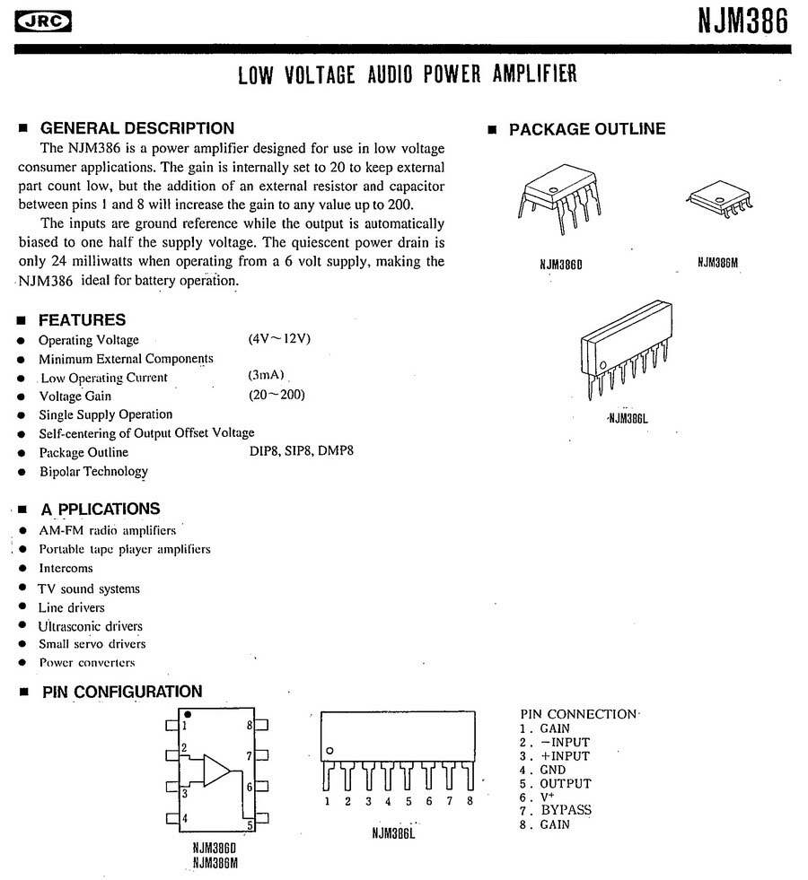 4 Pcs Lot Low Voltage Audio Amplifier Ic Jrc Njm386d Lm386 In Intercom Circuit Using Diagram If You Buy More Quantity Please Visit My Wholesale Items Or Contact Us